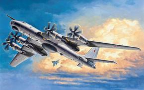 Art, intercontinental, bomber, sky., in, screw, most, turboprop, Soviet, fast, plane, strategic, missile carrier