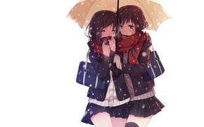 nieve, fondo blanco, invierno, paraguas, forma, las nias, fro, Arte