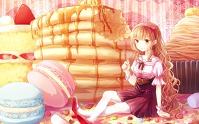 fruit, bow, cookies, girl, Art, Sweets, fork, strawberry, hoop, caramel