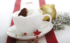 Holidays, table, Christmas, New Year, ball, gold, chocolate, toy, branch, dessert, cream, cup, cookies