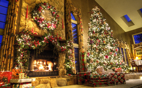 Gifts, home, Tree, New Year, New Year, fireplace