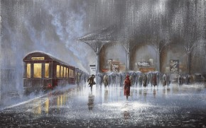 two, woman, car, platform, people, rain, meeting, train, Downpour, man, Umbrellas, picture, railway station