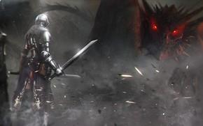 guerriero, Arte, spada, drago, pangolin, armatura