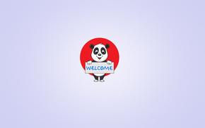 inscripcin, panda, crculo rojo, placa, un fondo claro, Bienvenida, Minimalismo, sonrer