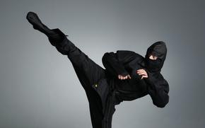 ниндзя, черный костюм