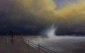 parapeto, Ciudad, cifras, paraguas, noche, ondas, imagen, Arte, mar, luces, tormenta, dos, tormenta