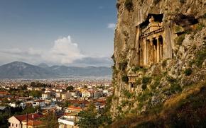 дома, городок, храм, крыши, камни, вид, старинное, скала, горы, строение, колонны, высота