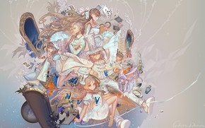 mirror, background, Art, Butterflies, Characters, alice in wonderland