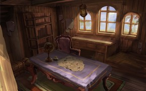 globo, tavolo, cabina, mappa, sedia, Arte