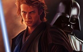 Anakin, helmet, metal, lightsaber, Skywalker, Hayden Christensen