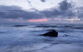 Португалия, море, берег, прибой, камень, вечер, закат, небо, облака