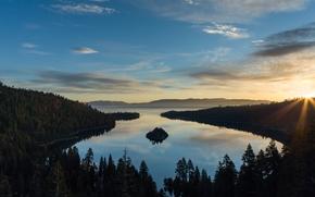 lake tahoe, Lake Tahoe, forest, Mountains, Sunrise, Morning