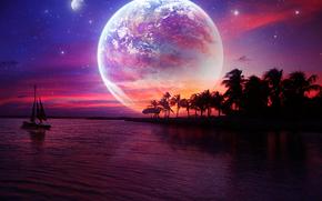 планета, ночь, море, корабль, 3d