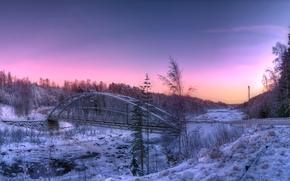 norrland, sweden, Winter, road, bridge, sunset, panorama