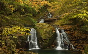 forest, autumn, waterfalls, Trees, nature, landscape