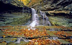 瀑布, 岩石, 石头