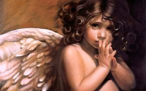 angelo, bambino, bello, innocenza, preghiera, Riccio, tenerezza