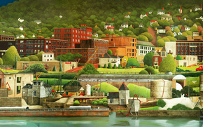 Arte, disegno, macchinario, immagine, fiume, dettagli, citt, case, alberi, costa