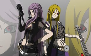 guitar, microphone, background, Art, Vocaloid, Girls