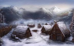 деревня, викинги, дома, снег, арт, поселение