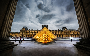 pyramid, people, Paris, sky, city, museum, Cloudy, France, Louvre, column