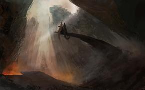 dragon, fantasy, Mountains, Art, rocks, monster