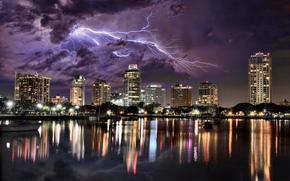 storm, sky, clouds, night, city, lightning, reflection
