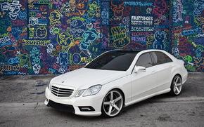 graffiti, Mercedes, bianco, Sintonia, Tonificante, anteriore