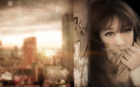 girl, column, snow, tear, emotions