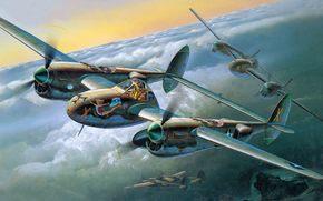 бомбардировщик, арт, самолет, истребитель