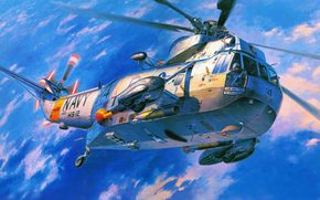Sikorsky, Navy, USA., transport, helicopter, antisubmarine, Art