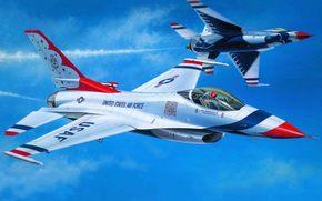 самолет, арт, эскадрилья, тандербердс, пилотажная, Буревестники, ВВС, демонстрационная, США, истребитель