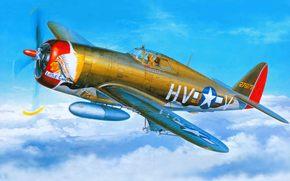 арт, самолет, США, ВВС, бомбардировщик, истребитель