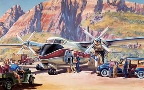 к, самолет, рисунок, арт, вылету., подготавка, аэродром, живопись, горы