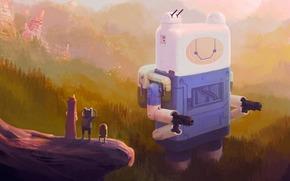 робот, время приключений, арт, лес, горы
