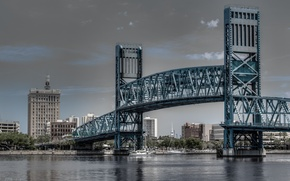 main street bridge, jacksonville, florida, джексонвилл, флорида, мост, река