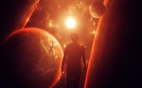 мужчина, солнце, планеты, космос, силует