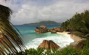 spiaggia., l'isola di La Digue, mare, Seychelles