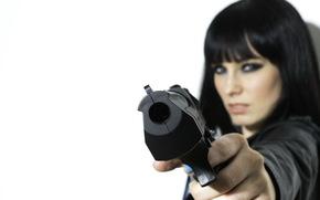 ragazza, pistola, situazione