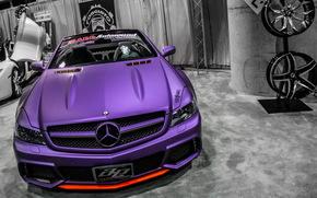 Mercedes, тюнинг, кабриолет, фиолетовый, диски