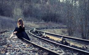 ferrovia, situazione, ragazza