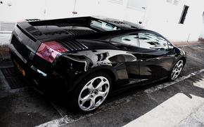Lamborghini, carretera, Lamborghini, negro, edificio