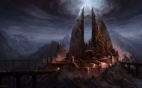 bridge, castle, Lightning, Art, Darkly