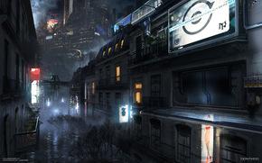 фантастика, ночь, город, будущее