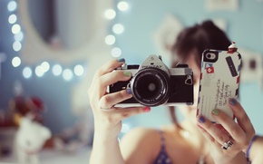 iPhone, wallpaper, girl, Blur, background, brunette, ring, Mood, phone, Camera