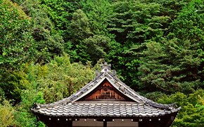 roof, Trees, Garden, greens, Japan, pagoda