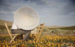 \ Valley, amor, csped, dos, Flores, sillas, paraguas