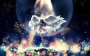 musical instrument, light, girl, Art, angel, violin