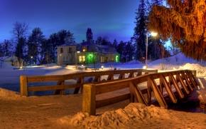VASTERBOTTEN, sweden, hiver, pont, lumires, btiment, paysage