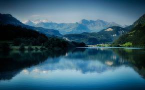 Montaas, bosque, lago, paisaje